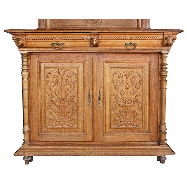 Image of Antique Ornate Carved Oak Buffet