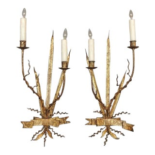 Pair of Early 20th C Spanish Organic Free Form Gilt Tole Sconces