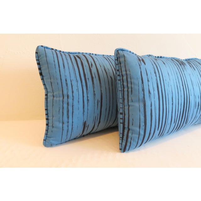 Custom Blue Brushtroke Pattern Pillows- a Pair - Image 3 of 4