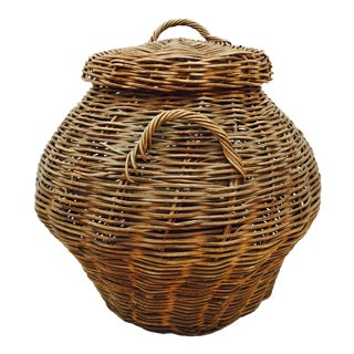 Antique Woven Wicker Lidded Basket