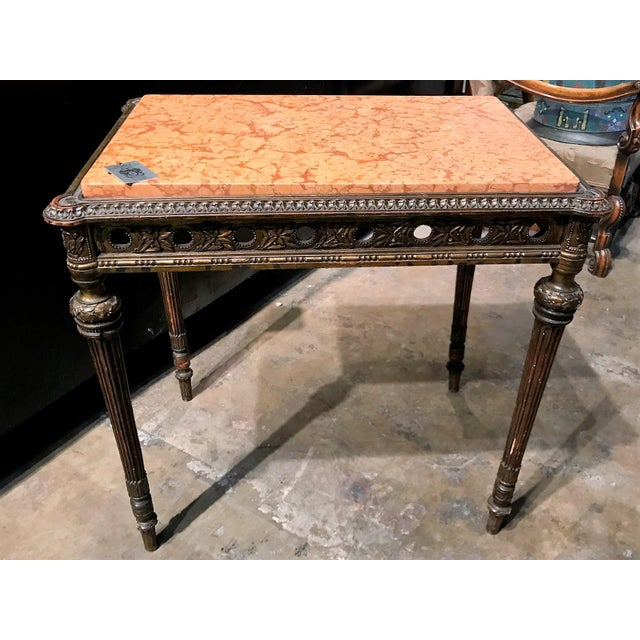 Antique 1890s French Giltwood and Marble Top Side Table - Image 4 of 4