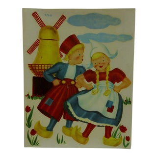 "1930s Vintage Decal / Wall Decoration ""Dutch Children"" the Meyercord Co. Chicago"