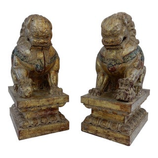 Antique Qing Dynasty Temple Foo Dogs - A Pair