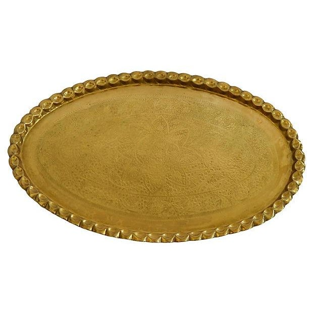 Image of Hammered Brass Tray with Scalloped Edge