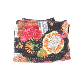 Black Floral Kantha Throw - A Full