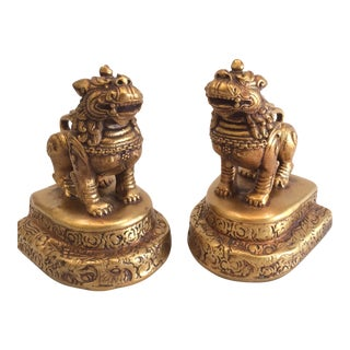1960s Vintage Gilt Foo Dog Composite Bookends - a Pair