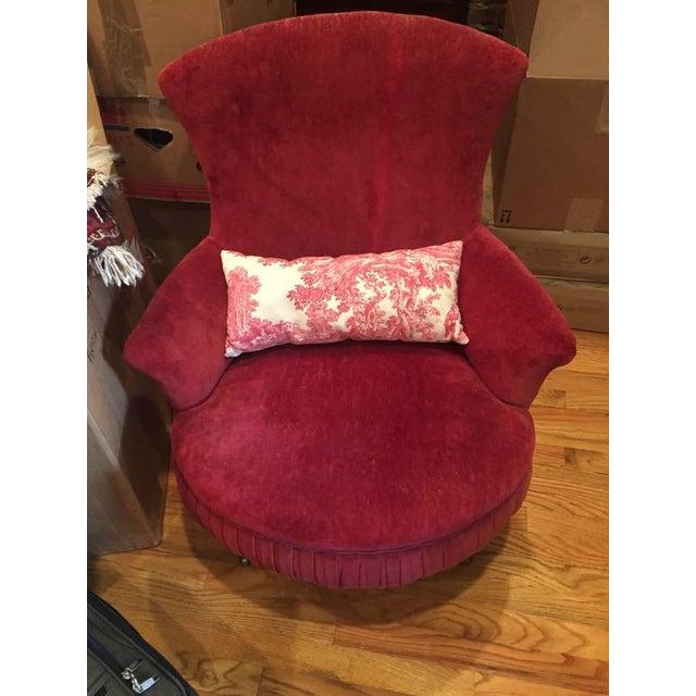 Victorian Red Velvet Slipper Chair - Image 3 of 6