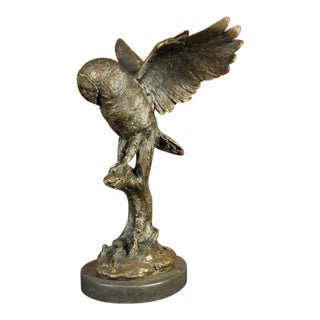 Owl on a Branch Wings Spread Bronze Statue