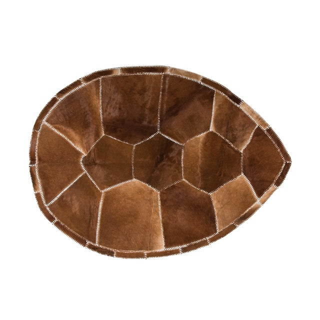 Aydin Turtle Shape Cowhide Patchwork Accent Area Rug
