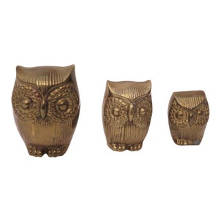 Retro Brass Owl Figurines - Set of 3