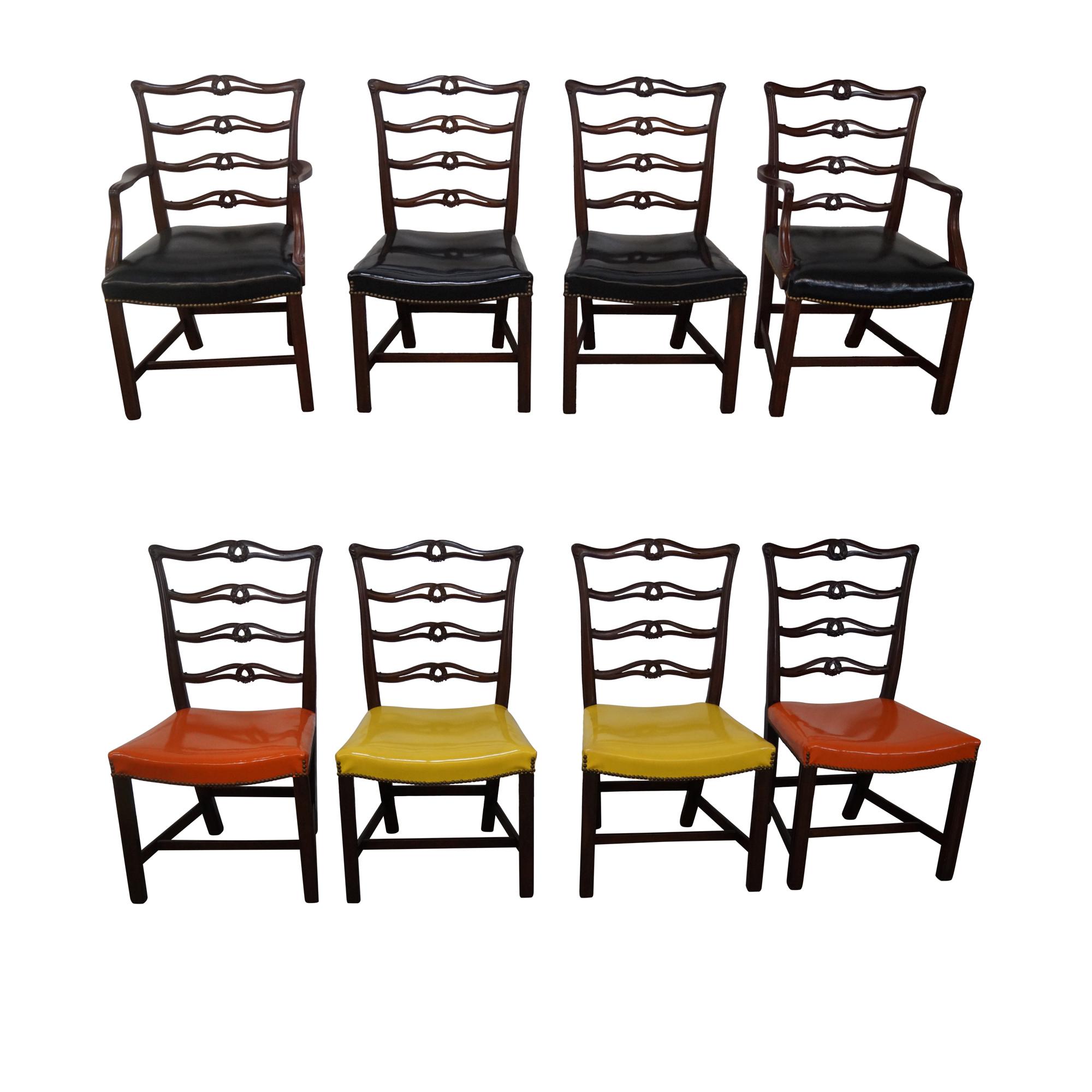 mahogany chippendale ribbon back dining chairs 8 chairish