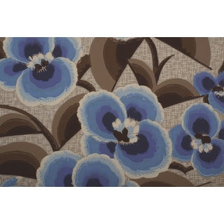 Blue Art Deco Floral Wallpaper Sample Art