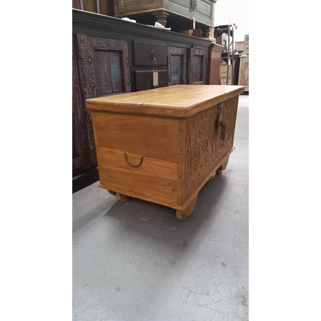 Carved Wooden Chest With Wheels - Image 3 of 7