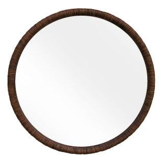 1970s Caned Beveled Round Mirror