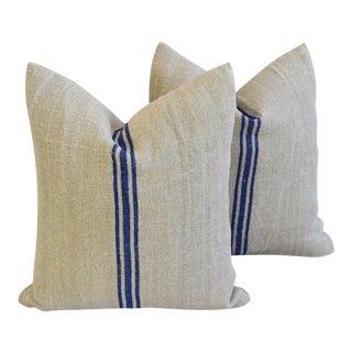 Custom Blue Stripe French Homespun Textile Feather/Down Pillows - a Pair