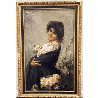 19th Century Antique Oil Painting, Spanish Beauty