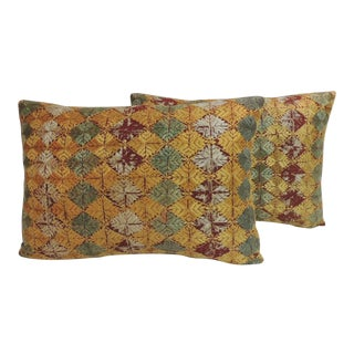 Pair of Antique Embroidery Indian Phulkari Decorative Lumbar Pillows