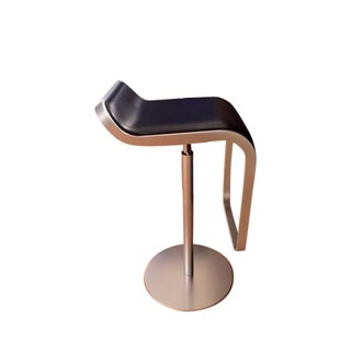 DWR Lem Piston Black Leather & Stainless Stool