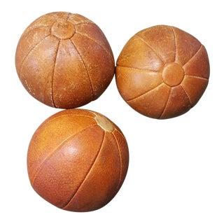Leather Vintage German Medicine Balls, 1950s - Set of 3