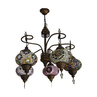 Turkish Tribal Handcrafted Mosaic Glass Chandelier