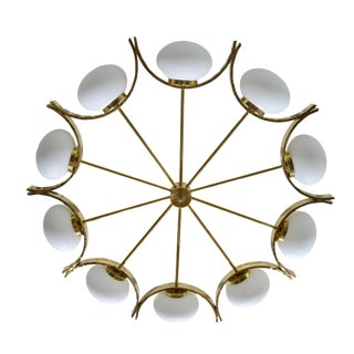 Italian Modern Round Brass and Ten Opaline Glass Globe Chandelier