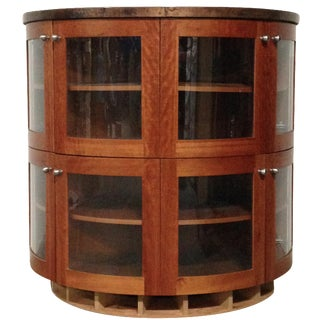 Cherry & Copper Demilune Display Cabinet