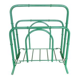 Emerald Green Faux Bamboo Magazine Rack