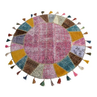 "Turkish Handmade Patchwork Circle Area Rug - 5'2"" x 5'2"""