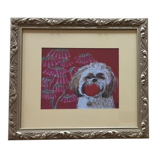 ShihTzu Dog Print by Judy Henn Framed in Silver