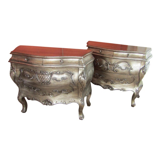 Bombay Style Nightstands, Side Tables in Antiqued Metalic Finish -- A Pair - Image 1 of 6