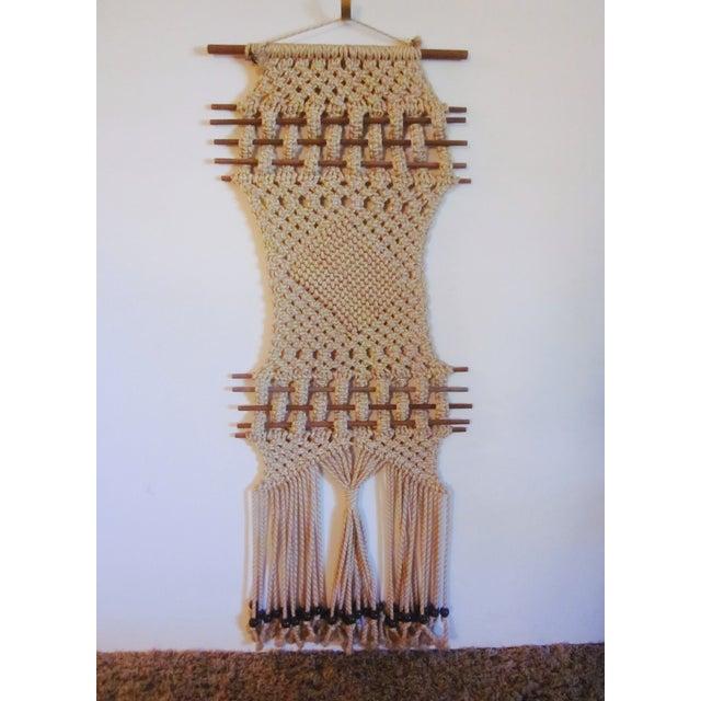 Vintage Jute Rope Macrame Boho Wall Hanging - Image 2 of 10