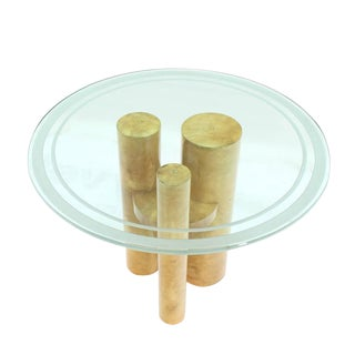 Round Glass Top Three Goatskin Wrapped Cylinder Base Gueridon Centre Table