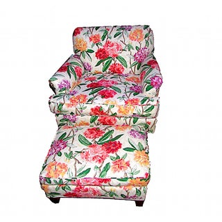 Floral Lounge Armchair with Ottoman