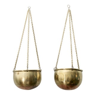 Copper & Brass Hanging Planters - a Pair