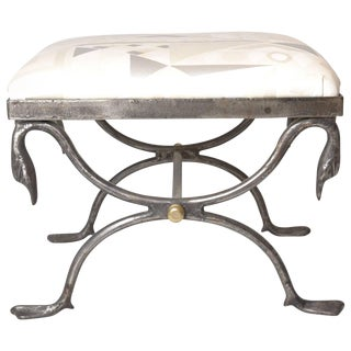 Quality Steel and Brass Bench with Swan Motif