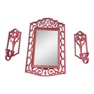 Palm Beach Chic Coral Mirror & Candle Holders - Set of 3