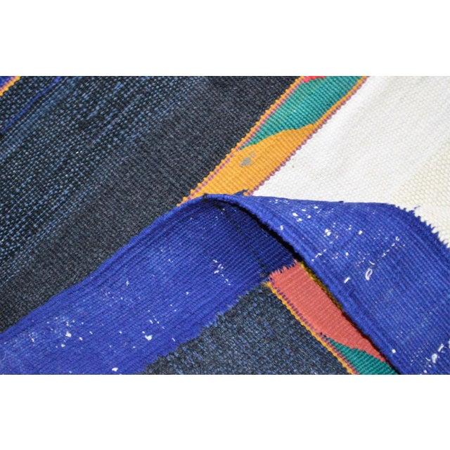 "Vintage Afghan Hand Knotted Kilim Rug - 6'7"" X 12'8"" - Image 4 of 10"