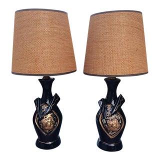Black Gold Ceramic Mid Century Boudoir Lamps - a Pair
