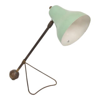 Mid Century Modern Italian Table Lamp Wall Sconce Lime Green Color Brass Body