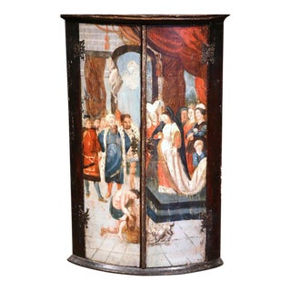 18th Century Italian Baroque Painted Wood Hanging Corner Cabinet