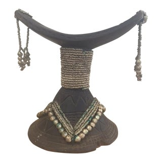 Vintage African Wood & Bead Headrest