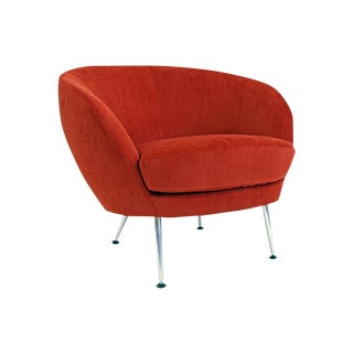 Brazilian Modern Mannes Curved Back Red Club Chair