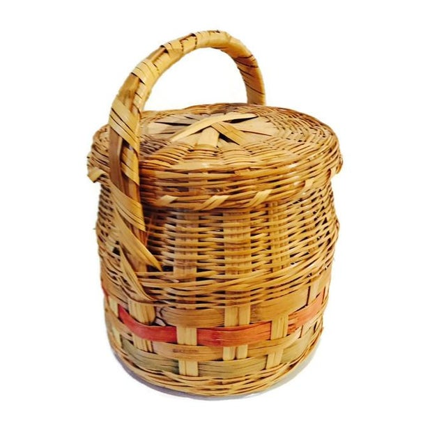 Vintage Mexican Hand Woven Lidded Basket - Image 1 of 6