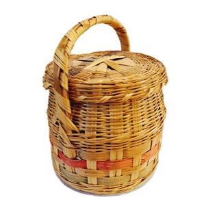 Vintage Mexican Hand Woven Lidded Basket