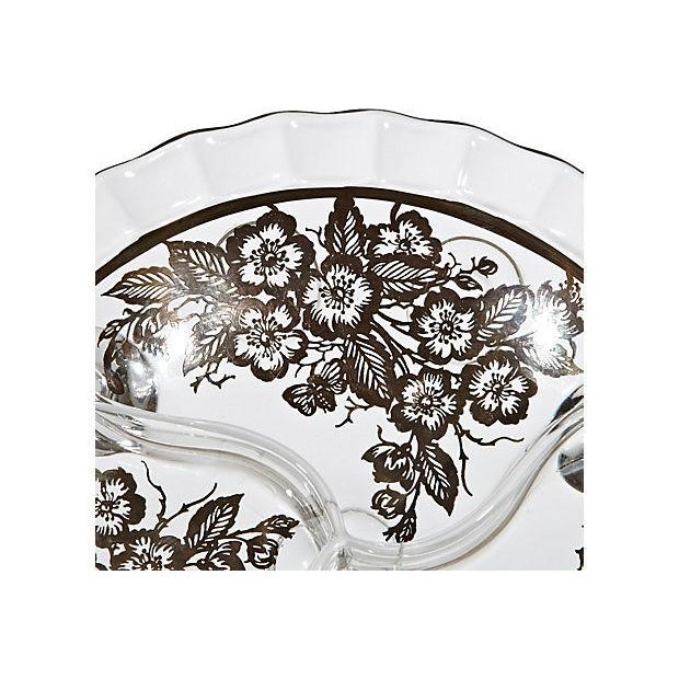 Glass Footed Silver Floral Bowl - Image 2 of 3