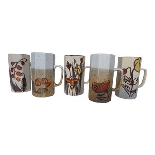 Handcrafted Japanese Stoneware Mugs - Set of 5