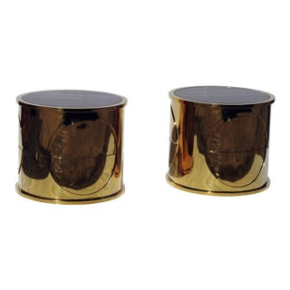 Karl Springer Inspired Marble-Top Side Tables - A Pair