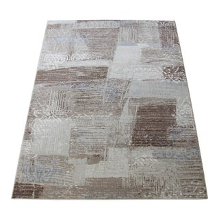 Brown & Blue Faded Damask Transitional Rug - 8' x 10'7""