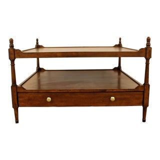 2-Tiered Mahogany Coffee Table With 2 Drawers