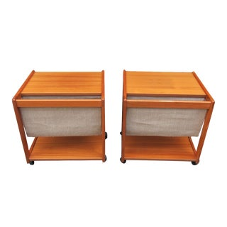 Mid-Century Magazine Storage Side Tables - A Pair